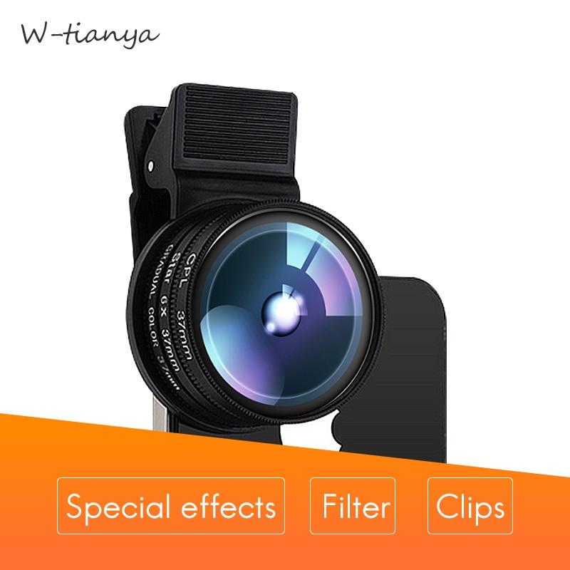 W-Tianya filter mobile phone special effects filter sets polarizer CPL close-up star4 6 8Gradent grey blue orange ND1000 filter все цены