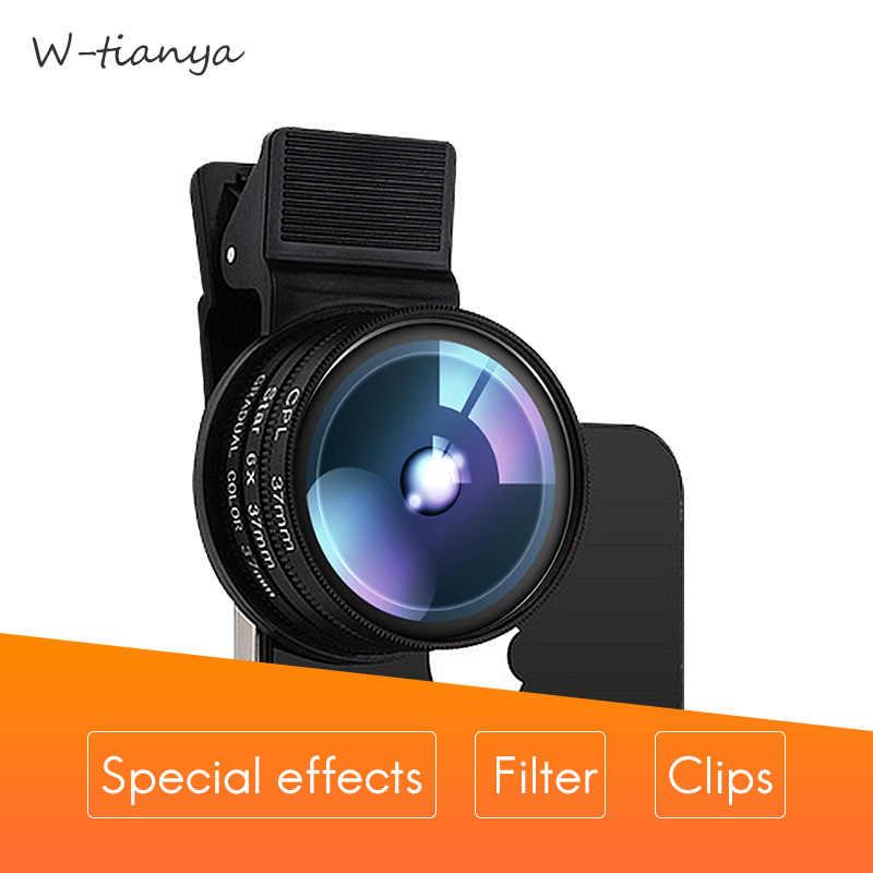 W-Tianya фильтр для мобильных телефонов, наборы специальных эффектов, поляризатор, CPL, крупным планом, star4, 6, 8 градусов, серый, синий, оранжевый, ND1000 фильтр