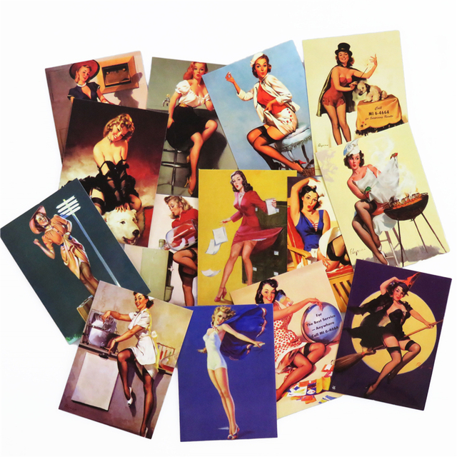 Retro Style 100 Pcs Sexy Lady Sticker Car Styling Suitcase Laptop Cool Doodle DIY Girls Stickers  High Quality PVC Decals Toy
