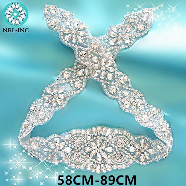 (1PC) Rhinestone Appliques For Wedding Belt Silver Gold Crystal Beads Iron Sew On Rhinestone Appliques For Bridal Dresses WDD0209