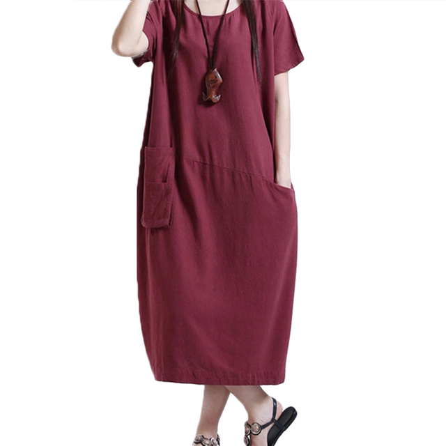 8a108e8cbd 2018 Autumn Summer Mori Girl Original Womens Cotton Linen Loose Dress  Casual Long Sleeve Vintage Dress Plus Size NQ906635