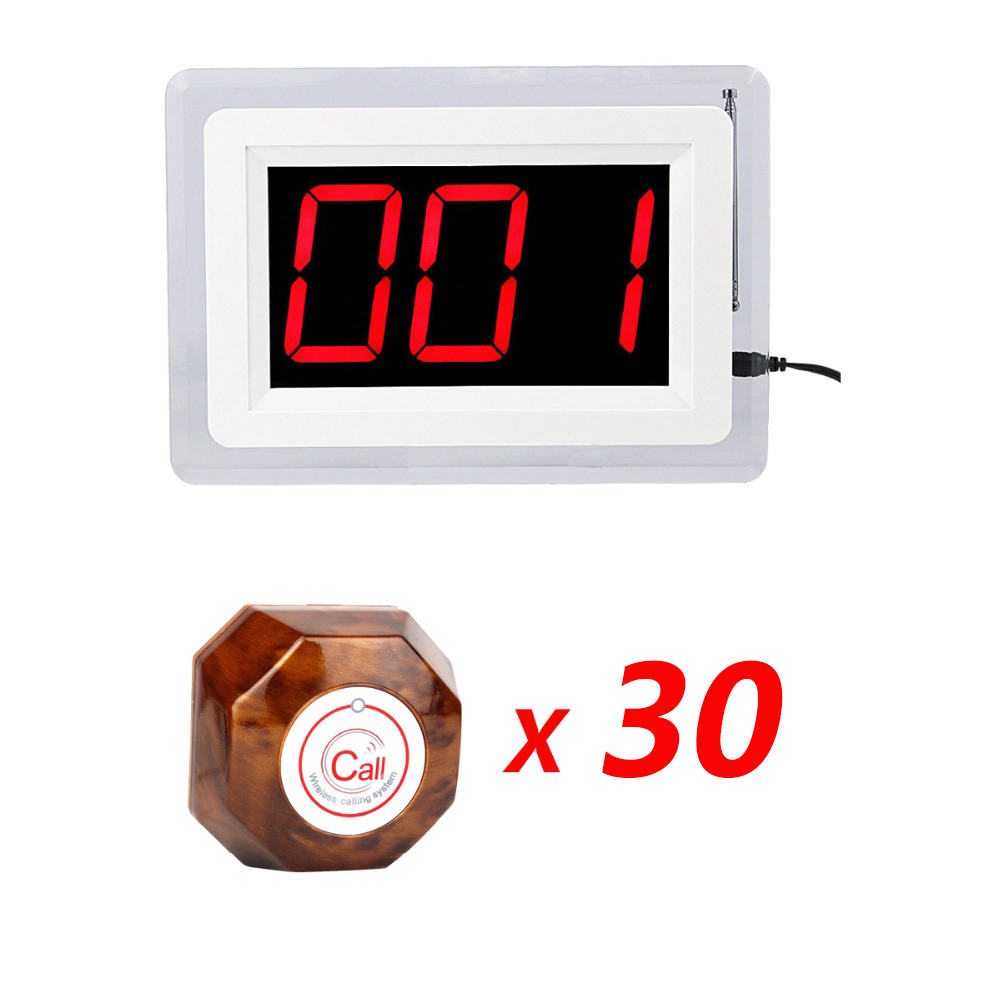 30pcs Call Button Transmitter Pager+1pcs Host Display Restaurant Pager Wireless Calling System wireless restaurant calling system 10pcs call button 1 host display with voice reporting restaurant equipment f4400