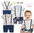 Um Pedaço Do Corpo Do Bebê Menino Romper com Suspensórios Newborn Bebe Macacão Geral Verão 2016 Outerwear Roupas Infantis Kids Wear