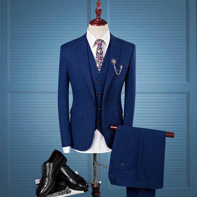 US $111.8  Slim Fit Men Suits Wedding Groom Plus Size 4XL 2018 Groom  Wedding Casual Tuxedo Dress Male Gray Blue 3 Pieces Suit-in Suits from  Men\'s ...