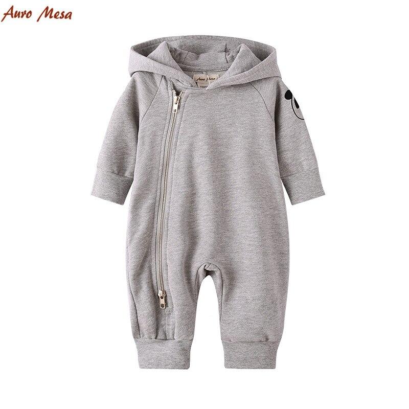 Causal Autumn Infant Boy Romper Grey Hooded Playsuit Cute Panda Newborn Boys Coverall Outerwear