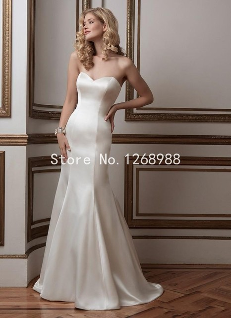 Simple Elastic Silk Like Stain Sweetheart Mermaid Wedding Dresses ...