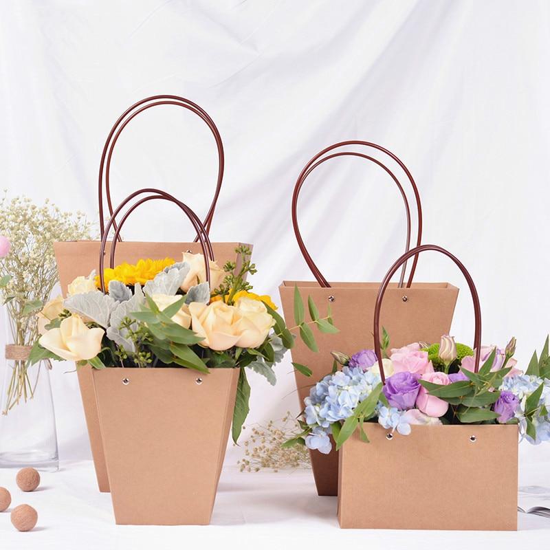 kraft paper bags flower box with handle waterproof bouquet