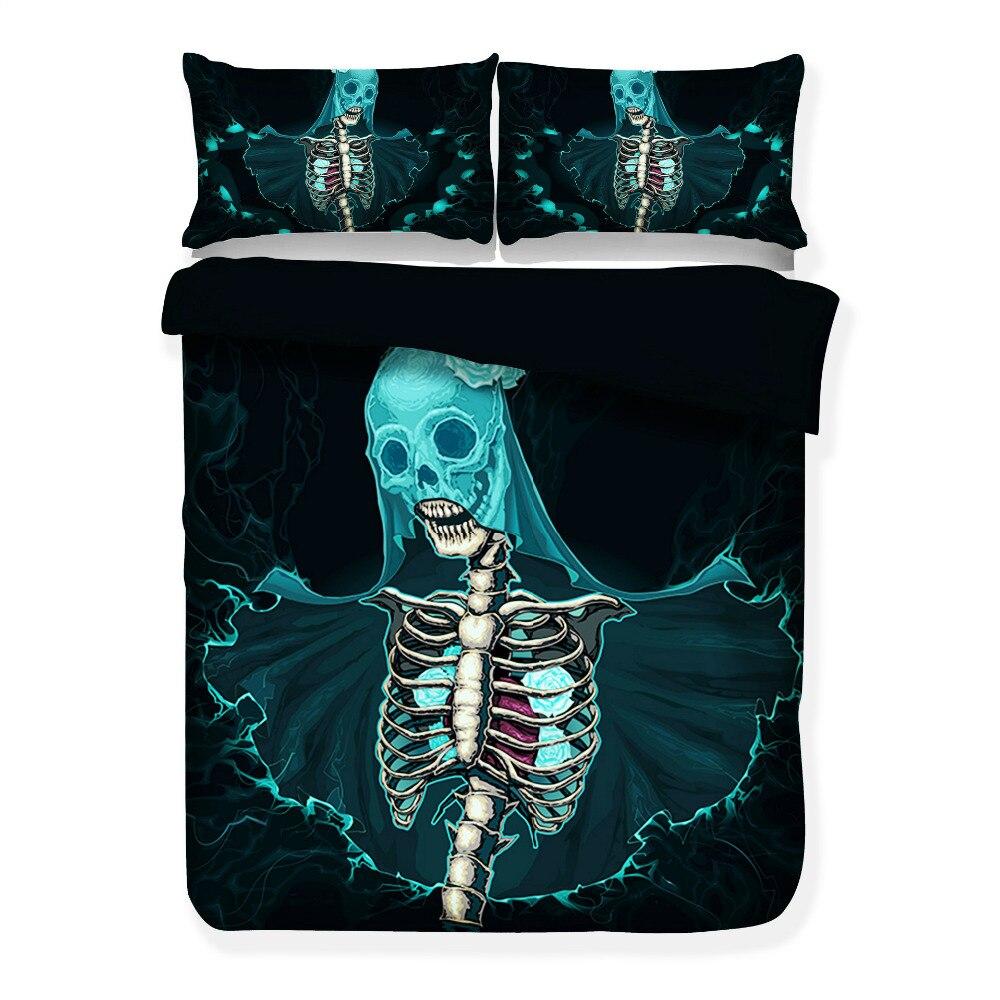 3D Skull Bedding Set Black and White Duvet Cover Queen Size 3/4pcs Big Skull Bed Sheet Cotton Blend Soft Material Bed Cover