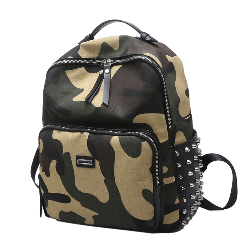 UNstyle New Casual Canvas Camouflage Rivet Shoulder Bags Female Korean Version Summer Personalized Traveling Backpacks BP062
