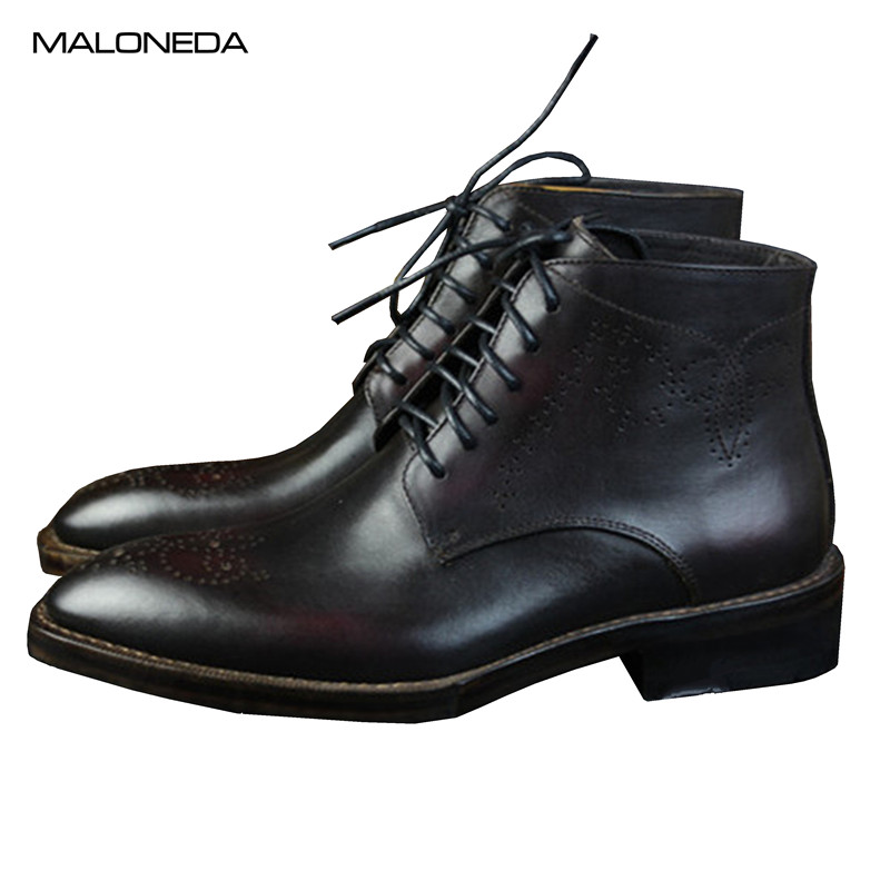 MALONED Brand New Men Boots Top Quality Handsome Comfortable Retro Leather Spring/Autumn Boots Genuine Leather GoodyearMALONED Brand New Men Boots Top Quality Handsome Comfortable Retro Leather Spring/Autumn Boots Genuine Leather Goodyear