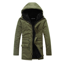 Fashion Mens Down Jacket Long Coat Winter Black Army Green Slim Fit Parka Hooded Warm Thick Jacket Full Zip Mid Long Overcoat