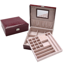 Double Layer Large Capacity Jewelry Pill Storage Box Make Up Cosmetics Makeup Organizer Container PU Cortex Home Office
