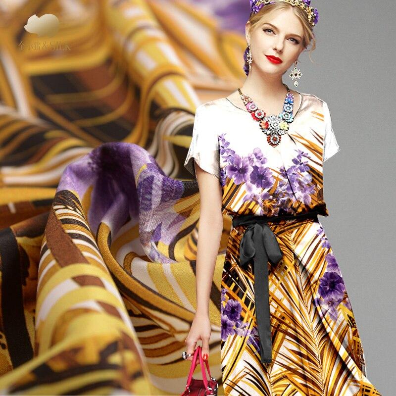 30mm stretch heavy crepe silk fabric reed digital printing silk stretch fabric soft cheongsam dress silk cloth 127cm width - 2