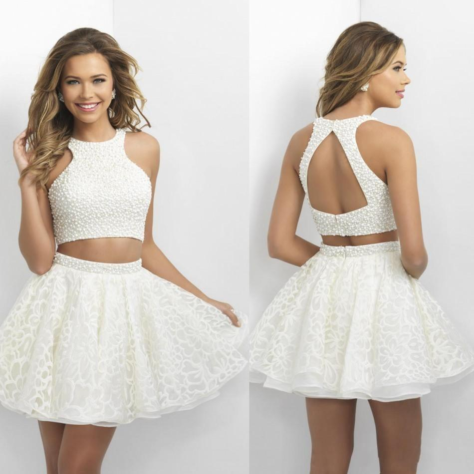2016 Two Pieces Tail Dresses Little White Short Prom Dress With Pearls Backless Mini Lace Shirt Halter Neck In From Weddings Events