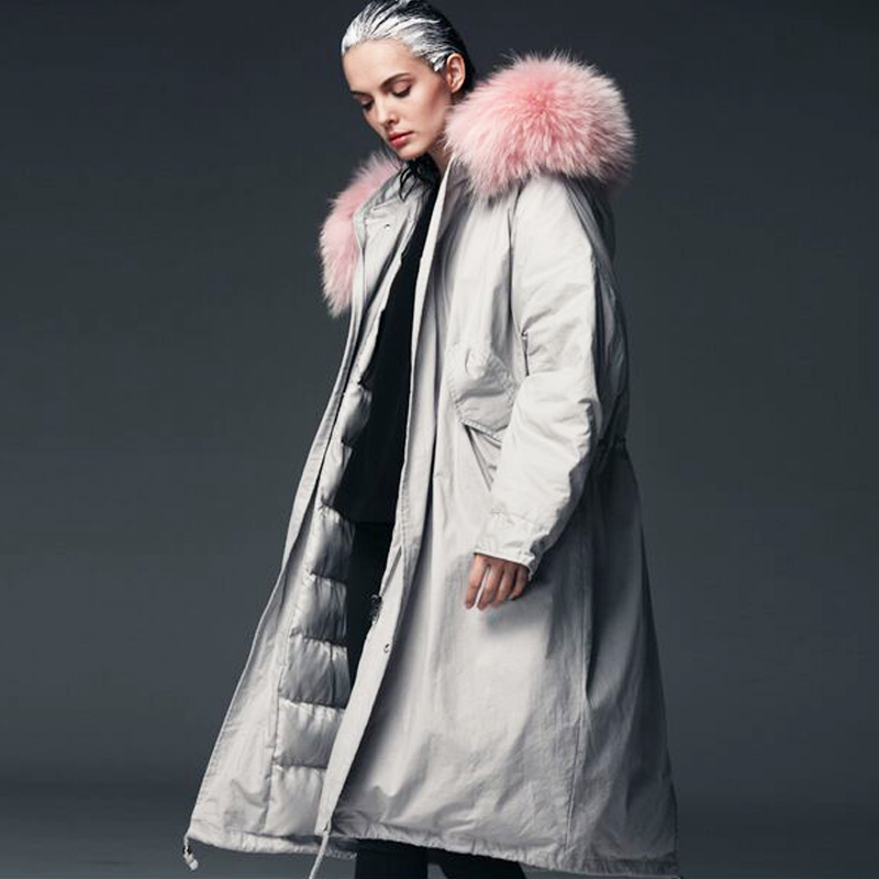 Big Real Natural Fur 2018 High Quality Long Thick Warm Parka Winter Jacket Women Overcoat White Duck   Down   Jacket Plus Size   Coat