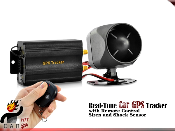 Real-Time On line Car GPS Tracker and Car Alarm GSM GPRS SMS System (Remote Control, Siren and Shock Sensor) lson tk103a multi function gsm gprs gps sms car vehicle positioning tracker black