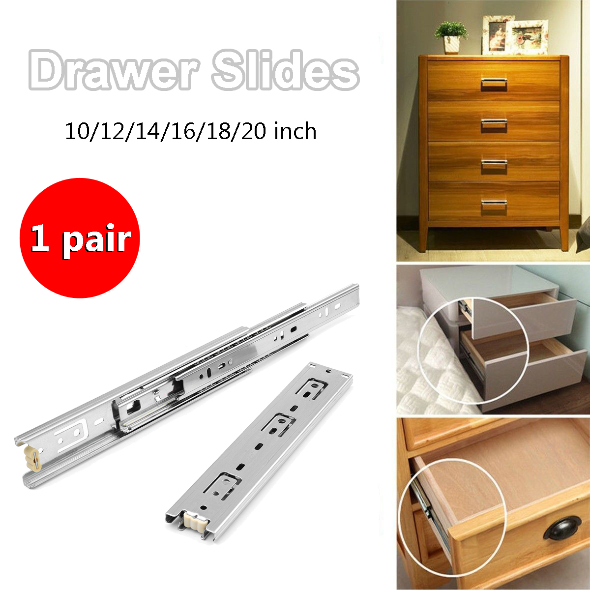 2Pcs 10-24 Keyboard Cabinet Cupboard Drawer Runners Ball Bearing Drawer Slides Furniture Slide Steel Ball Bearing Slides2Pcs 10-24 Keyboard Cabinet Cupboard Drawer Runners Ball Bearing Drawer Slides Furniture Slide Steel Ball Bearing Slides