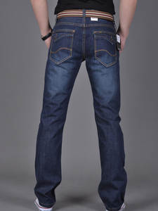 CHOLYL Denim Jeans Navy-Blue Classic-Style Male Men's Straight New-Fashion Long Solid