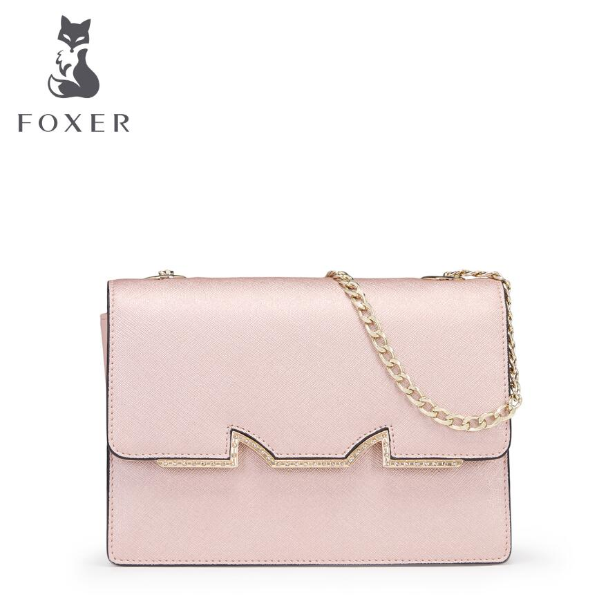 FOXER 2017 New leather bag Fashion embossed chains bag designer women quality leather shoulder messenger bag small bag 2018 new foxer brand women leather bag high quality fashion chains women shoulder messenger bag cowhide black simple small bag