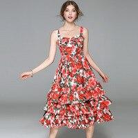 2017 new brand runway women summer dress top quality fashion print spaghetti strap slim party dress brief sleeveless dress
