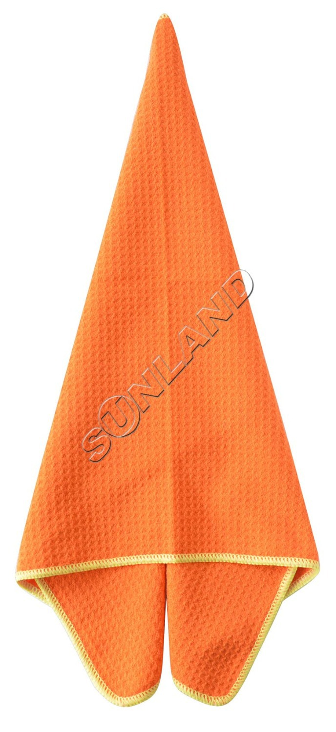 Sinland 16 Inch X 24 Inch 320gsm Thick Microfiber Waffle Weave Kitchen Towels Dish Drying Towels Pack Of 3,Orange , Light blue