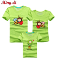 Ming Di HOT Selling 95% Cotton T-Shirt  Family Set T Shirts 2016 Matching Family Clothing Men Women Kids Cartoon Bees T-Shirts