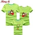 Ming Di Venta CALIENTE 95% Conjunto de La Familia T-Shirt de Algodón T camisas 2016 Familia Coincidente Ropa Hombres Mujeres Niños de la Historieta Abejas camisetas