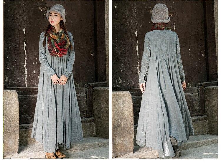 797a2cac39 Long Maternity Dress O neck Long Sleeve Vintage Linen Robes White Orange  Gray Maxi Dress A line Arabic Muslim Vestidos de festa-in Dresses from  Women s ...
