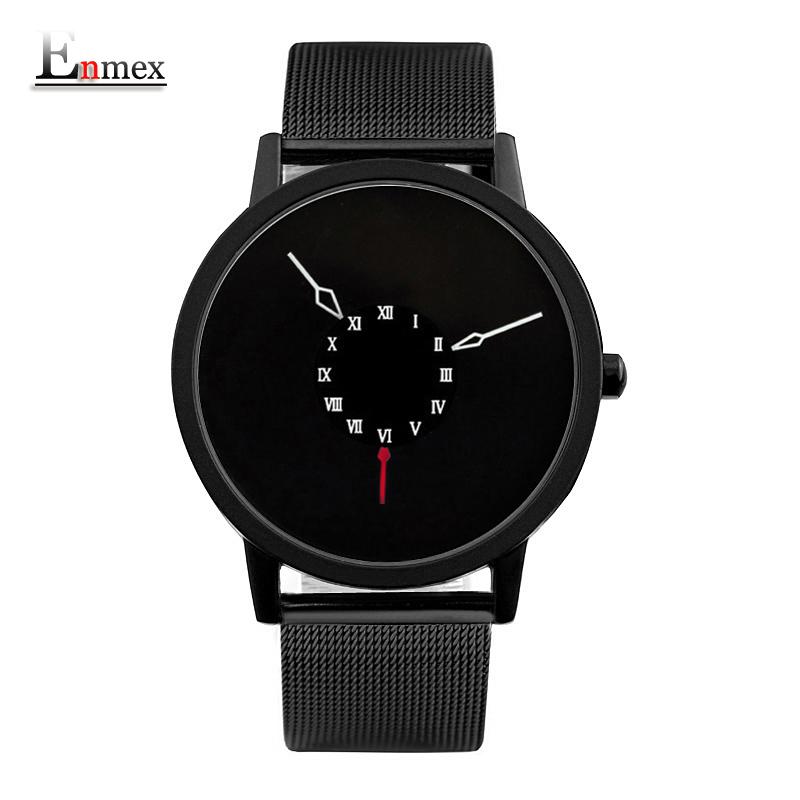 Prix pour 2017 hommes cadeau Enmex brève conception stainles bracelet en acier la Tête en bas creative main unique design pour jeunes de mode montres à quartz