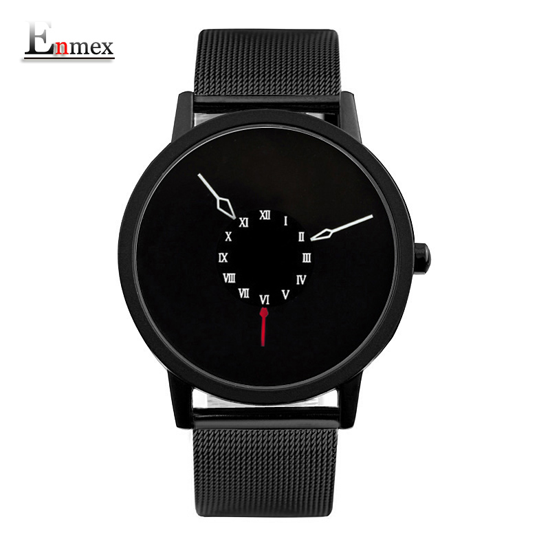 2017 men gift Enmex brief design  stainles steel strap creative Upside down hand unique design for young fashion quartz watches 2017 gift enmex creative simple design brief face with a red pointer steel band water prof young and fashion quartz watch