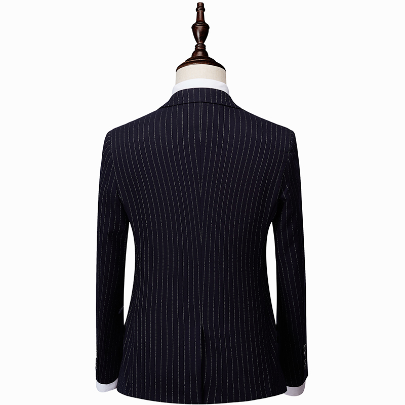 Loldeal Men Suit 2 Pieces Breasted Suits Navy Striped Tuxedo Wedding Suits for Men Slim Fit tuxedos Jacket Pants in Suits from Men 39 s Clothing