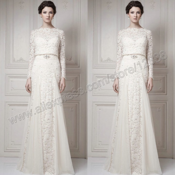 The Ivory Tulle and Lace Floor Length Muslim Wedding Dress Long ...