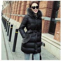 Latest Fashion Women Winter Coat Fox fur collar Hooded Thickening Super Warm Down jacket Big yards  Slim Medium long Coat G1815