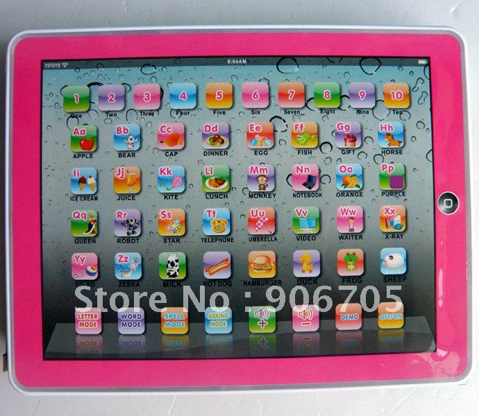 Free Shipping Y-Pad English Learning Machine,Pink and Blue Mixed,Music and Led Light,6PCS/Lot ...