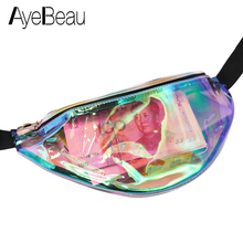 Transparent Clear Holographic Fanny Pack Hologram Hip Bum Belt Waist Bag Female For Women Handy Pouch Purse Phone Banana Bananka
