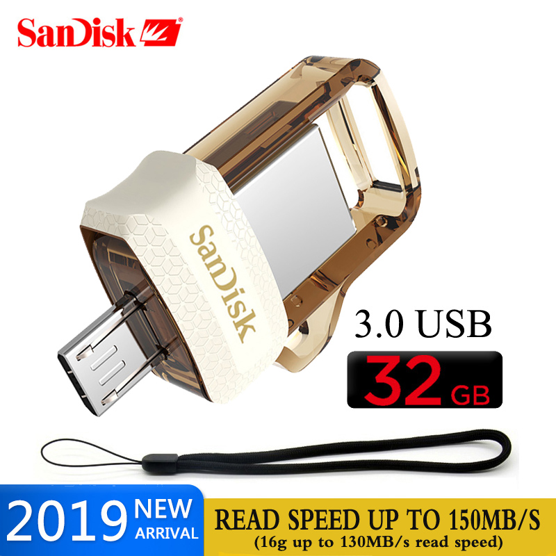 Original Sandisk SDDD3 Extreme High Speed 150M/S Dual OTG USB Flash Drive 64GB 32GB Mini Pen Drive USB3.0 Pen Drive Genuine