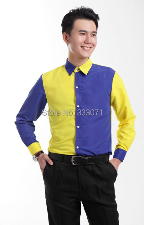 2015 New Yellow with Royal Blue Long sleeved Men Shirt Wedding ...