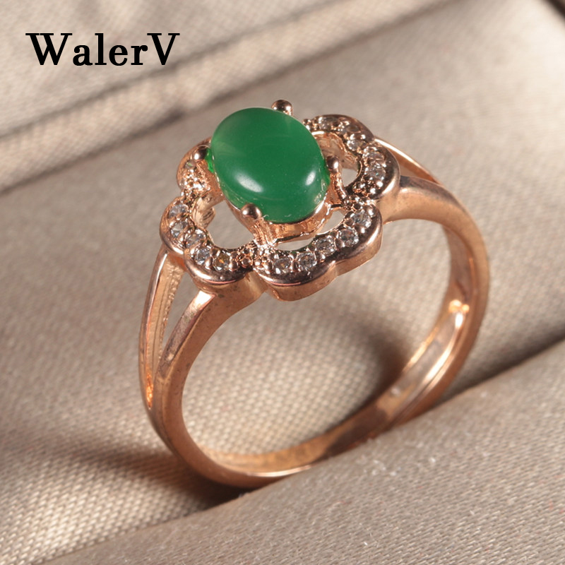 WalerV Womens Ring Set Fashion Jewelry Charm Gold Color Luxury Zircon Open Ring Lady Oval Green Stone Crystal Wedding Finger