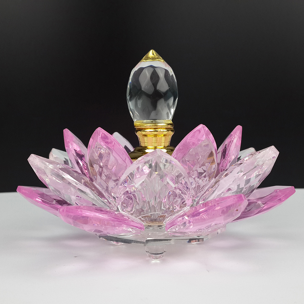 Free Shipping Rainbow Crystal Perfume Bottle Lotus Flower Glass Oil