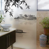 Stained Static Cling Window Film Frosted Opaque Privacy Glass Sticker Home Decor Digital Print BLT1272 Misty
