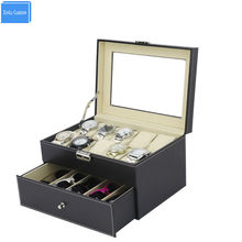 Black Sew Pu Leather Store 2 Layer Display Collect Case with Drawer Watches Box 10 Slots Storage Grids 5 Sunglasses Storage Box(China)