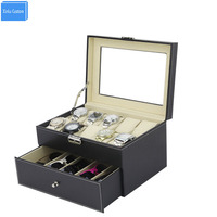 Black Sew Pu Leather Store 2 Layer Display Collect Case With Drawer Watches Box 10 Slots