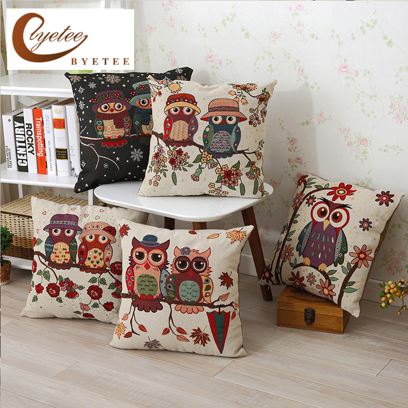 [byetee] Owl Cotton Cushion Covers Sofa Cushion Cases Cotton Linen Cushion Decorative Pillows Pillow Cover Coussin ( No Inner)