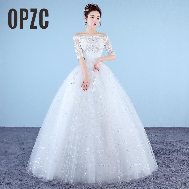 Customized White Princess Simple Wedding Dresses 2017 New Korean Style Lace Half Sleeve Boat Neck Bridal Gown Vestido De Noiva