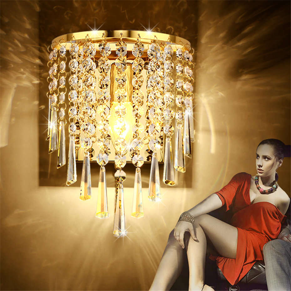 Modern Art High Grade Crystal E14 Wandlamp voor thuis Slaapkamer Woonkamer Decoratie Binnenverlichting Europese luxe stijl