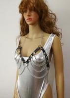 Nowe Mody Skóra Styl WRB992 Kobiet Bondage Uprząż Plaża Biustonosz Chain Collar Choker Srebrne Łańcuszki Naszyjnik Biżuteria Akcesoria