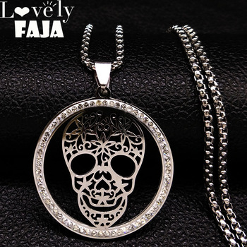 2019 Skull Crystal Stainless Steel Necklace Women Halloween Silver Color Necklaces Pendants Jewelry calavera mexicana N18527