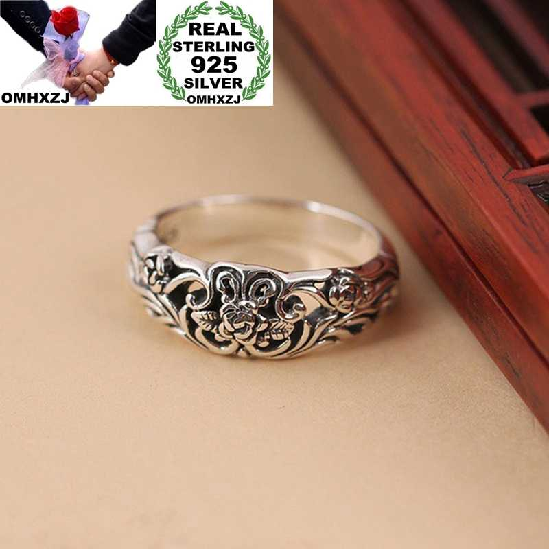 OMHXZJ Wholesale European Fashion Hot Jewelry Woman Girl Party Birthday Wedding Gift Vintage Flower Rose Tai Silver Ring RR839