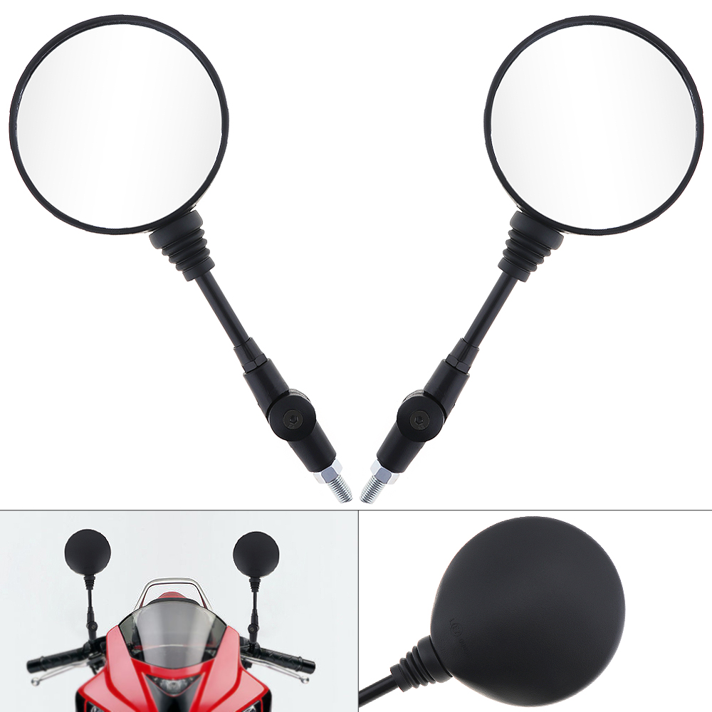 1Pair 2pcs 10mm Motorcycle Rearview Mirror Round Size for All Universal Yamaha Honda Suzuki Motorbike