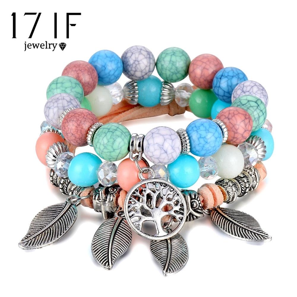Классический Набор браслетов «Древо жизни» для женщин, многослойный винтажный браслет из натурального камня в виде листьев, браслеты и браслеты, ювелирные изделия, подарки